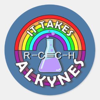 ¡Toma los ALQUINOS! Retruécano de la química del Pegatina Redonda