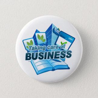 Tomar el cuidado del botón del blanco del negocio