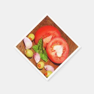 tomate con la cebolla servilletas de papel