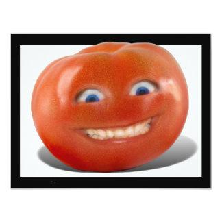 Tomate sonriente de la cara feliz invitación 10,8 x 13,9 cm