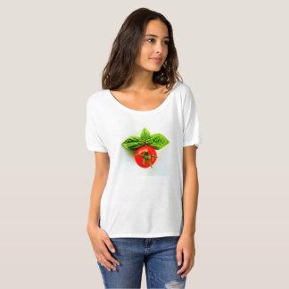 Tomate y la camiseta de las mujeres de la albahaca