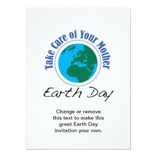 Tome el cuidado de su día de madre tierra invitación 13,9 x 19,0 cm