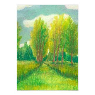 Tomemos un paseo - dibujo original del día hermoso invitación 12,7 x 17,8 cm