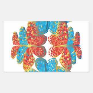 Tonalidades de la mariposa pegatina rectangular