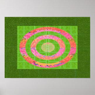 Tonalidades del verde y del rosa oval del cristal póster