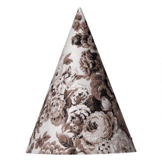 Tono Brown Toile floral No.3 de la sepia Gorro De Fiesta
