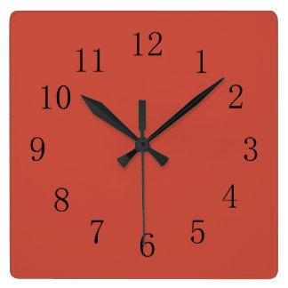 Tono rojo de la tierra de la terracota reloj cuadrado