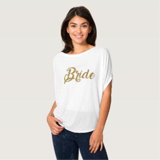 Top de Flowy del brillo del oro de la novia