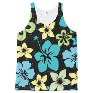 Top hawaiano tropical del hibisco de Luau de los Camiseta De Tirantes Con Estampado Integral