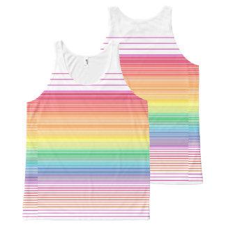 top horizontal multi brillante del chaleco de la camiseta de tirantes con estampado integral
