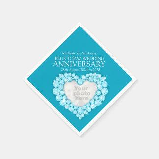 Topaz 4 años del aniversario del corazón de la servilleta desechable