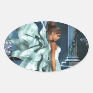 Topaz azul pegatina ovalada
