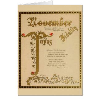 Topaz de noviembre tarjeta de felicitación