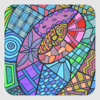 Torbellino multicolor de modelo pegatina cuadrada