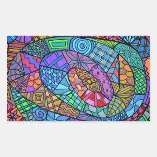 Torbellino multicolor de modelo pegatina rectangular