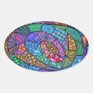 Torbellino multicolor de modelo pegatina ovalada