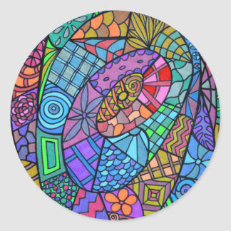 Torbellino multicolor de modelo pegatina redonda