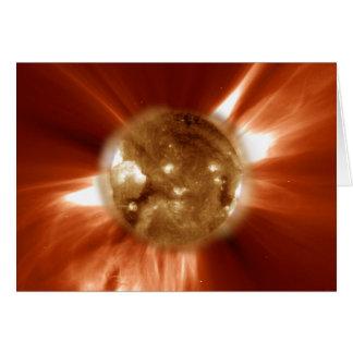 Tormenta de Sun tomada del laboratorio de espacio  Tarjeta De Felicitación