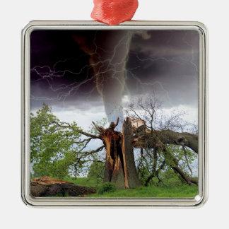 Tornado Adorno Navideño Cuadrado De Metal