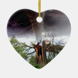 Tornado Adorno Navideño De Cerámica En Forma De Corazón