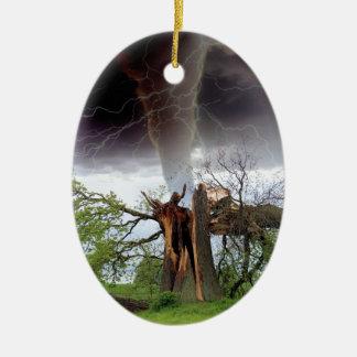 Tornado Adorno Navideño Ovalado De Cerámica
