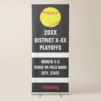 Torneo o juego de las segundas fases del softball pancarta retráctil