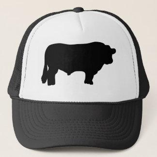 toro negro grande de angus gorra de camionero