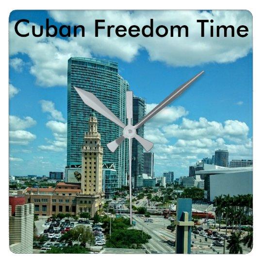 Torre cubana de la libertad en Miami Reloj Cuadrado