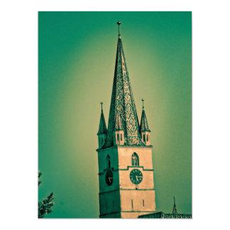 Torre de iglesia evangélica invitación 16,5 x 22,2 cm