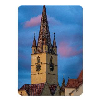 Torre de iglesia evangélica, Sibiu Invitación 12,7 X 17,8 Cm
