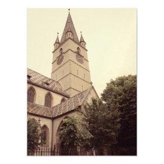 Torre de iglesia evangélica, Sibiu Invitación 16,5 X 22,2 Cm