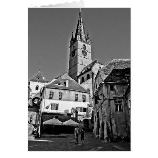 Torre de iglesia evangélica Sibiu Tarjetón