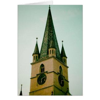 Torre de iglesia evangélica Sibiu Tarjeta