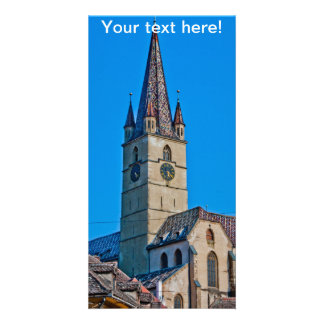 Torre de iglesia evangélica Sibiu Tarjetas Fotograficas Personalizadas