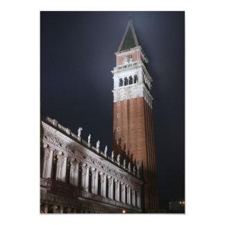 Torre de Venecia San Marco en la noche Invitación 12,7 X 17,8 Cm