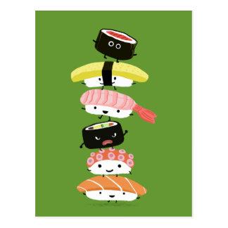 Torre del sushi - pila feliz de amigos del sushi postal