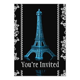 Torre Eiffel artística con las fronteras florales Invitación 12,7 X 17,8 Cm