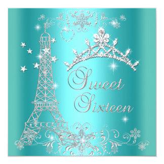 Torre Eiffel azul de la tiara del brillo del Invitación 13,3 Cm X 13,3cm