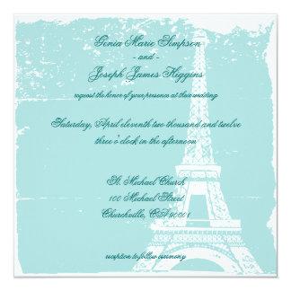 Torre Eiffel azul que casa Inviations Invitación 13,3 Cm X 13,3cm