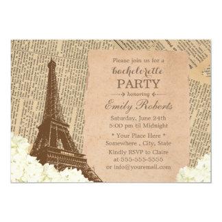Torre Eiffel Bachelorette floral de París del Invitación 12,7 X 17,8 Cm