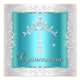 Torre Eiffel blanca azul de la tiara del trullo de Invitación 13,3 Cm X 13,3cm