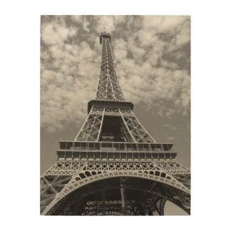 Torre Eiffel blanco y negro clásica Impresión En Madera