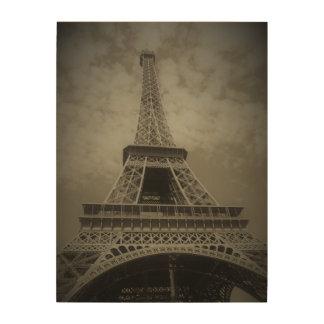 Torre Eiffel blanco y negro en lona Impresión En Madera