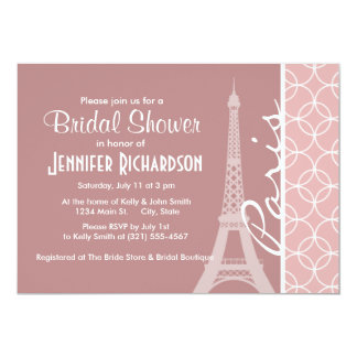 Torre Eiffel; Círculos de color de malva Invitación 12,7 X 17,8 Cm
