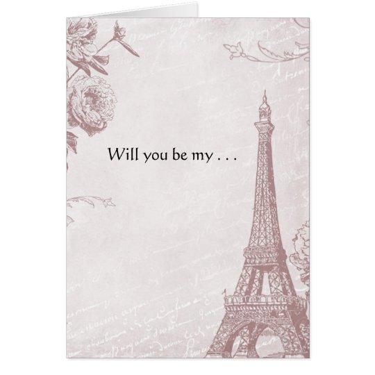 Torre Eiffel color de rosa del vintage del color Tarjeta Pequeña