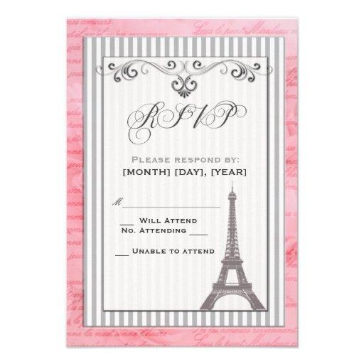 Torre Eiffel con el rsvp de los remolinos y de las Invitación