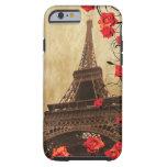 Torre Eiffel con los rosas rojos Funda De iPhone 6 Tough