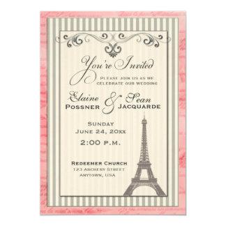 Torre Eiffel con remolinos y rayas Invitación 12,7 X 17,8 Cm