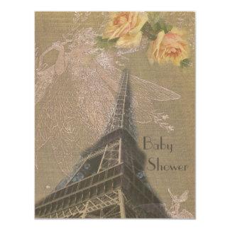 Torre Eiffel de la arpillera, hadas y fiesta de Invitación 10,8 X 13,9 Cm