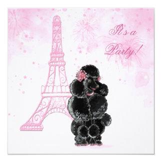 Torre Eiffel de la fiesta de cumpleaños y caniche Invitación 13,3 Cm X 13,3cm